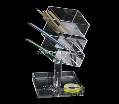 Custom clear acrylic 3 grids pen holder boxes