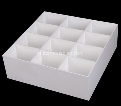 Custom 12 grids white perspex organizer box