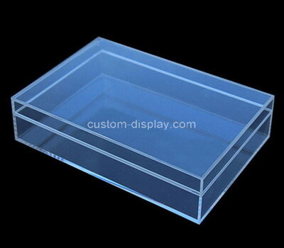 Custom flat blue perspex display box with lid