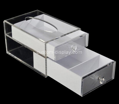 Custom perspex 2 drawers tissue paper box