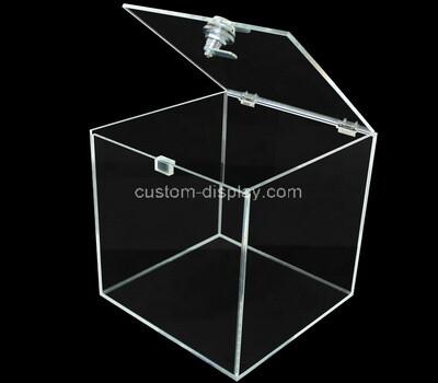 Custom square clear acrylic lockable box