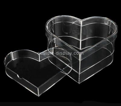 Custom heart shape transparent acrylic box with lid