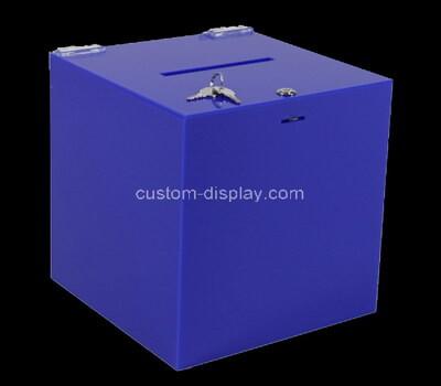Custom blue acrylic lockable donation box