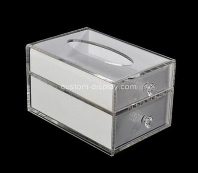Custom 2 tiers acrylic tissue paper drawer box