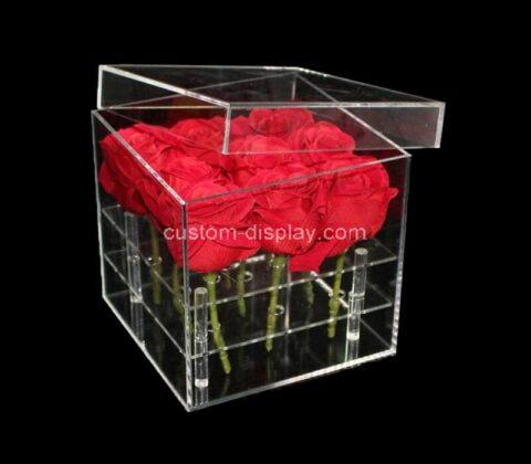 Customize acrylic flower box pot plexiglass wedding rose holder multifunction rose organizer