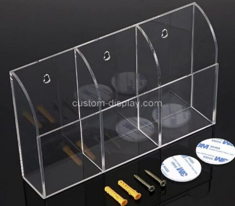 Customize wall mount acrylic remote control holder clear lucite media organizer storage box