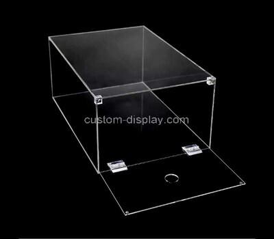 Custom acrylic shoe storage box plexiglass stackable drop front organizer space saving lucite container bin