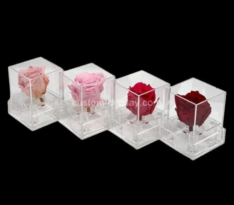 Customize clear acrylic rose box perspex flower box for single rose