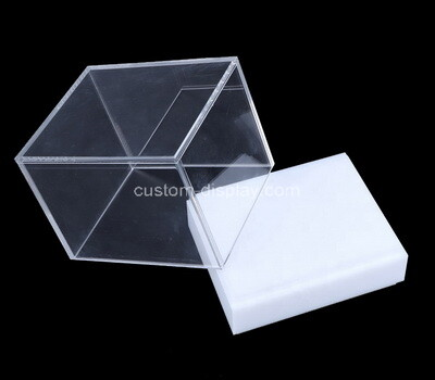Customize retail acrylic display box lucite display case with white base