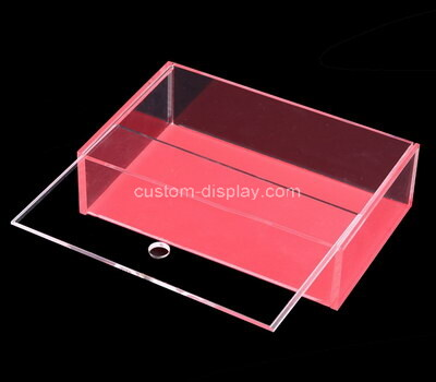 Customize acrylic clear sliding lid storage box lucite container plexiglass organizer