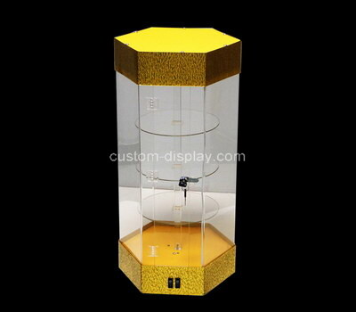 Custom hexagon plexiglass display box acrylic case perspex lockable box