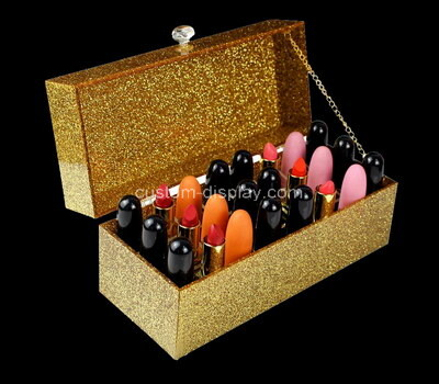 Custom plexiglass makeup organzier perspex cosmetic box with lid