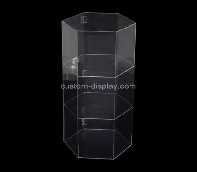 Custom acrylic hexagon cabinet lucite collectible case perspex organizer