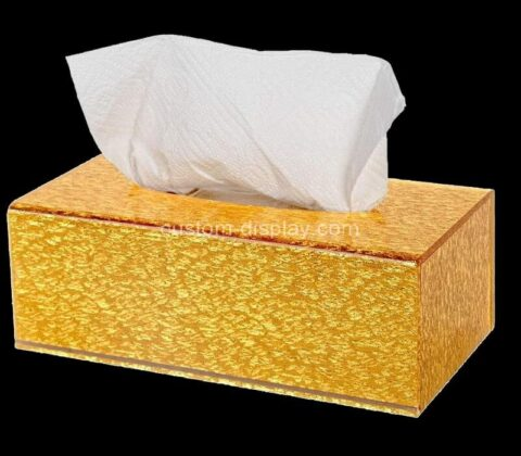 Custom golden plexiglass tissue box cover acrylic napkin dispenser for home office restaurant
