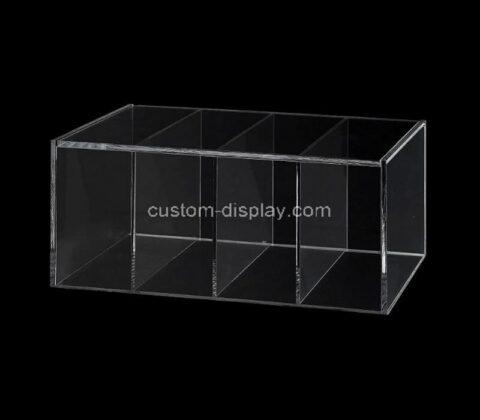 Custom clear acrylic 4 compartment storage box perspex capsule holder plexiglass tea bag organizer