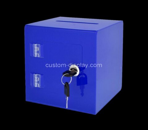 Custom acrylic ballot box plexiglass donation box with easy open rear door & lock - ideal for voting, charity & suggestion collection