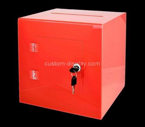 Custom acrylic voting box plexiglass charity box with easy open rear door & lock