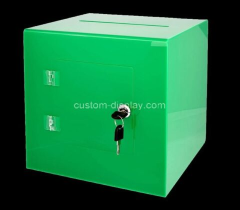 Custom acrylic charity box perspex collection box with easy open rear door & lock