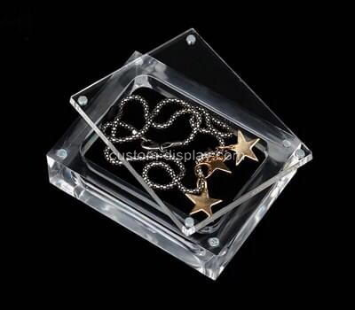 Customize transparent plexiglass necklace display case with lid
