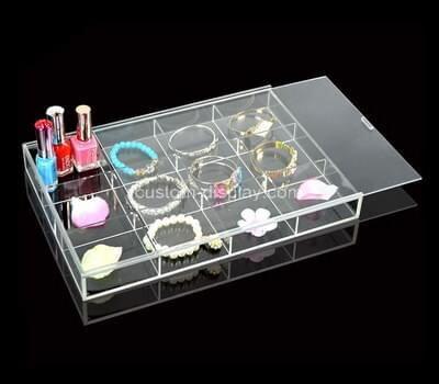 Customize transparent plexiglass jewelry display case with sliding lid