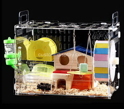 Customize transparent acrylic hamster cage lucite small animal hideout house