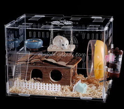 Customize transparent acrylic dwarf hamster hut plexiglass small animal hideout house