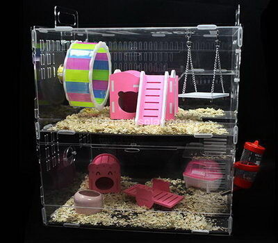 Customize perspex hamster habitat home lucite small pet animals house