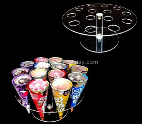 Acrylic manufacturer customize acrylic ice cream cone holder stand for party, baking sell
