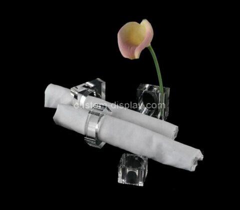 Plexiglass manufacturer customize acrylic napkin rings holder with vase