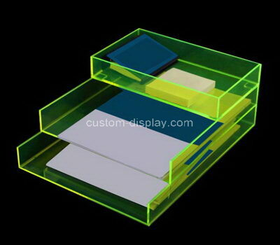 Acrylic manufacturer customize table top lucite file holder