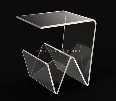 Acrylic manufacturer customize plexiglass side coffee table with magazine holder