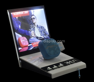 Perspex factory customize acrylic desktop led speaker display stand